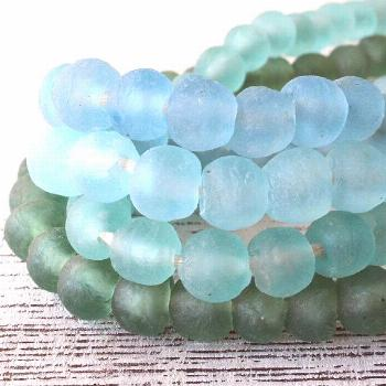 14mm Round Rustic Recycled Glass Beads From Ghana Africa - African Glass Beads - Sea Glass Beads Fo