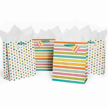 4 Pack Gift Bags STRIPES AND DOTS with Ribbon Handles, Gold