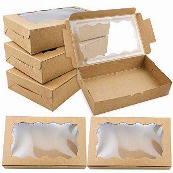 BILLIOTEAM 30 Pack Brown Kraft Cookie Boxes with Clear