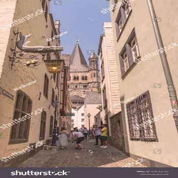 Cologne, Germany-June 30, 2019: old buildings and charming streets ,