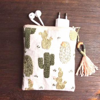 Cosmetic pouch, cosmetic bag, make up bag, cactus, gift -  Cosmetic bag cosmetic bag bag cactus gif