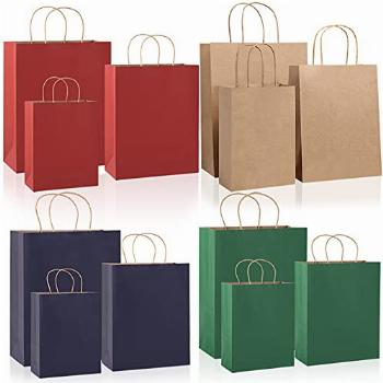Extra Thick 24Pcs Kraft Paper Gift Bags Assorted Sizes,