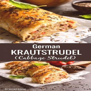German Krautstrudel is a delightfully easy savory cabbage roll, perfect for the season. With soft s