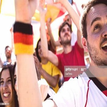 Germany Football Fan Supporters Cheering With Flags Watching Local Soccer Cup Ph ,