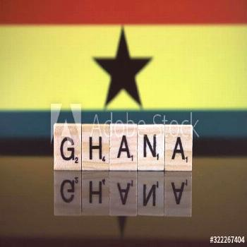 Ghana Flag and country name made of small wooden letters. Studio shot. ,