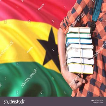 Ghana national education concept. Close up of teenage student holding books under his arm with coun