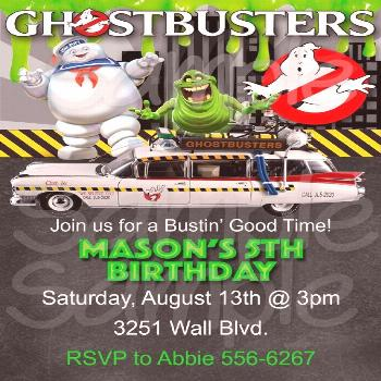 Ghostbusters Inspired Boys Birthday Party Invitation -Printable File, Ghostbusters Inspired Boys Bi