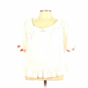 GIDDY UP GLAMOUR 3/4 Sleeve Top Ivory Scoop Neck Tops - Used - Size Large GIDDY UP GLAMOUR 3/4 Slee