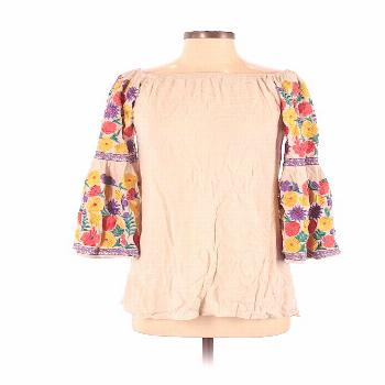 GIDDY UP GLAMOUR 3/4 Sleeve Top Tan Boatneck Tops - Used - Size Small