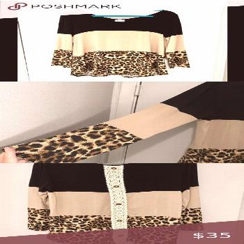 Giddy Up Glamour Black Tan Leopard Long Sleeve Top Giddy Up Glamour Back, Tan & Leopard Print Long