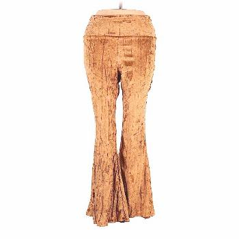 GIDDY UP GLAMOUR Casual Pants - High Rise: Gold Bottoms - Size Medium