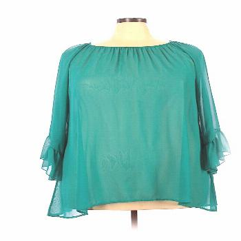 GIDDY UP GLAMOUR Long Sleeve Blouse: Blue Solid Tops - Size 2X