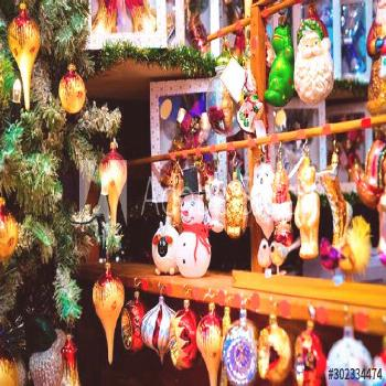 Glass Christmas tree decorations of Christmas market at Germany in Europe in winter. German Night s