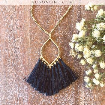 Gold Chain Lantern Outline Necklace with Fringe Tassels in Black -  Gold Chain Lantern Outline Neck