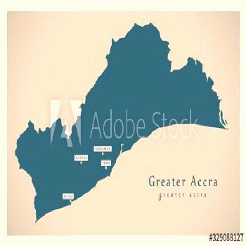 Modern Map - Greater Accra region map of Ghana GH ,