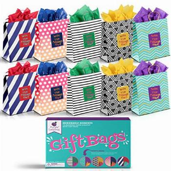 PURPLE LADYBUG 10 Large Gift Bags with Handles & Scratch