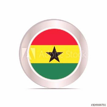 The national flag of the Republic of Ghana is isolated in official colors. ,