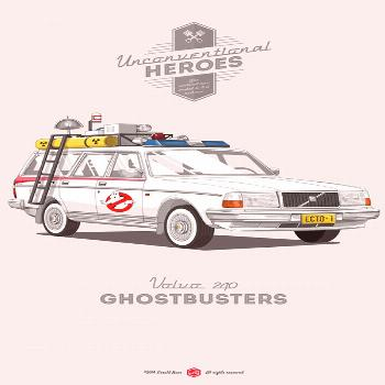 UNCONVENTIONAL HEROES 2 ILLUSTRATION BY GERALD BEAR | GHOSTBUSTERS ECTO-1 VOLVO 240 WTF !? (1... UN