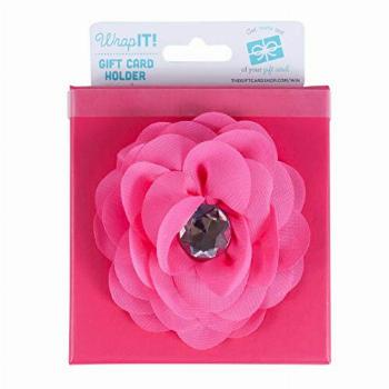 Wrap IT Pink Gift Card Holder Box with Fabric Flower, 4 x 4