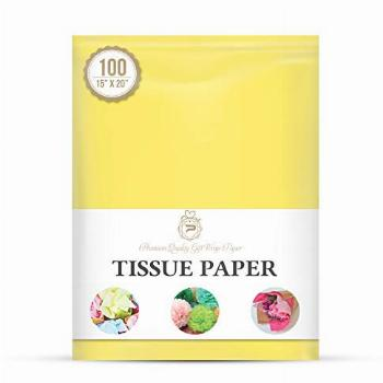 Yellow Gift Wrap Tissue Paper for Gift Packaging, Floral,