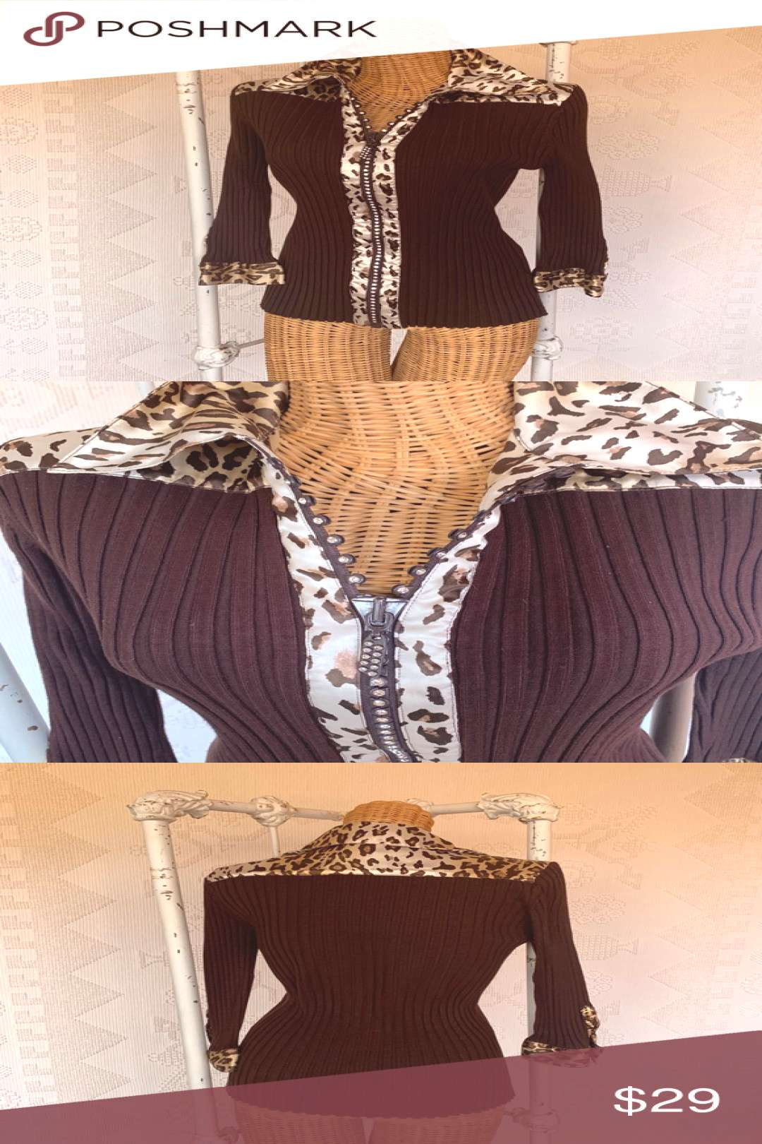 Belldini Sweater Blouse Brown and Leopard Belldini Chocolate Brown Sweater Blouse Sweater body trim