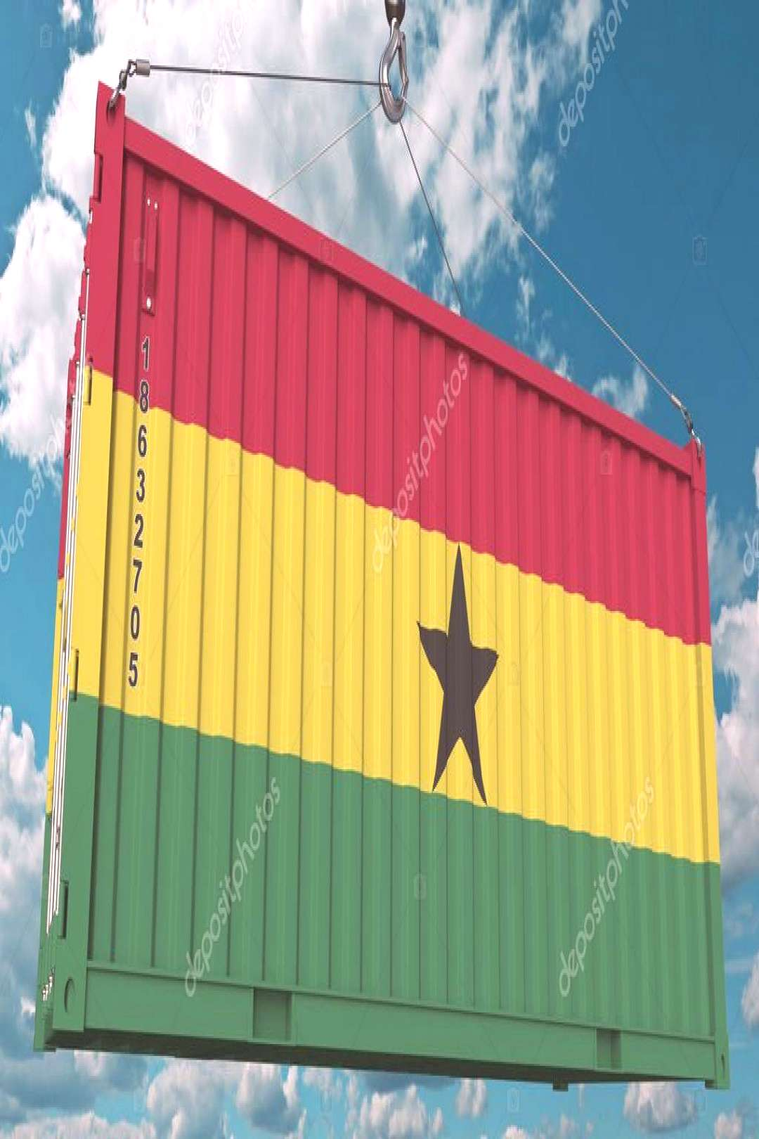 Container with flag of Ghana. Ghanaian import or export related conceptual 3D re ,