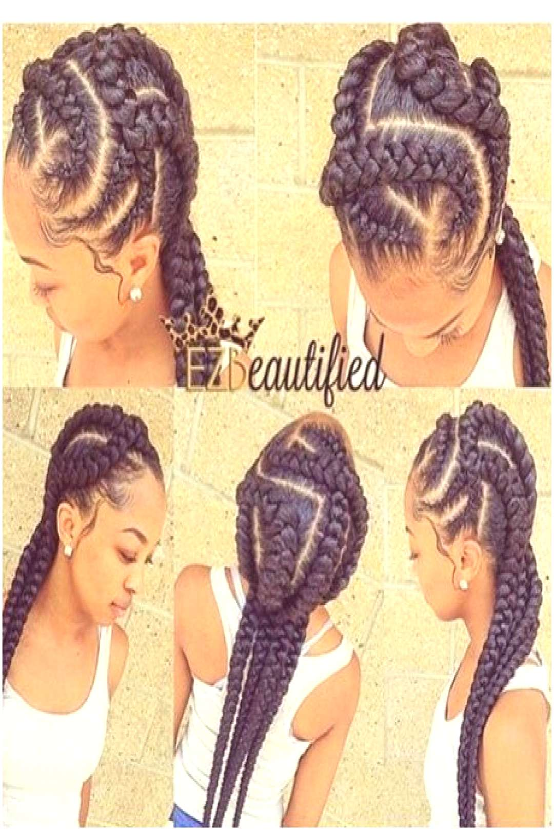 cute quick braided hairstyles Braids middle part 14 Middle Quick Braided Hairstyles with Weave Idea
