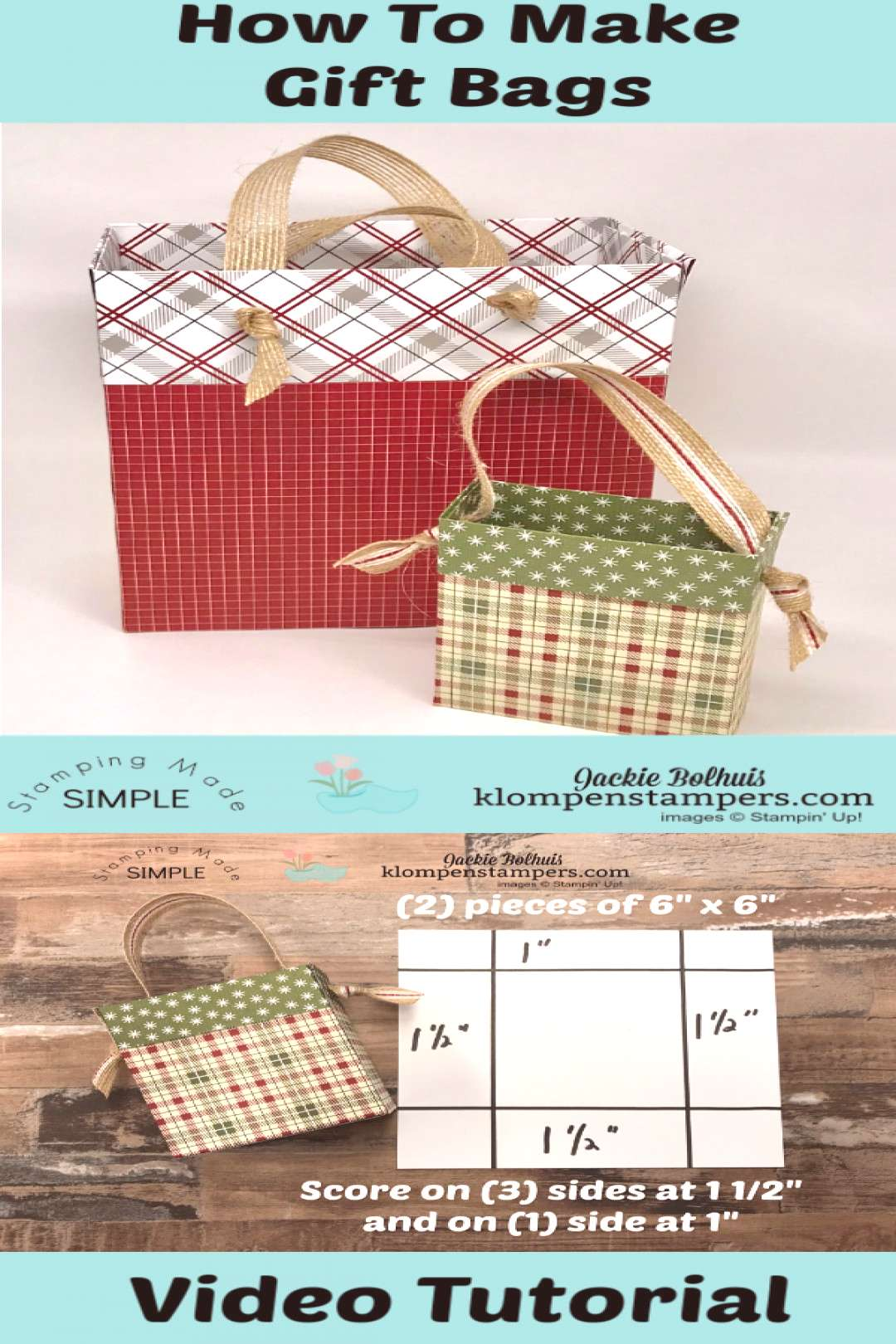 DIY Gift Bag From Scrapbook Paper VIDEO TUTORIAL Its easy to make ANY SIZE gift bag from Designe