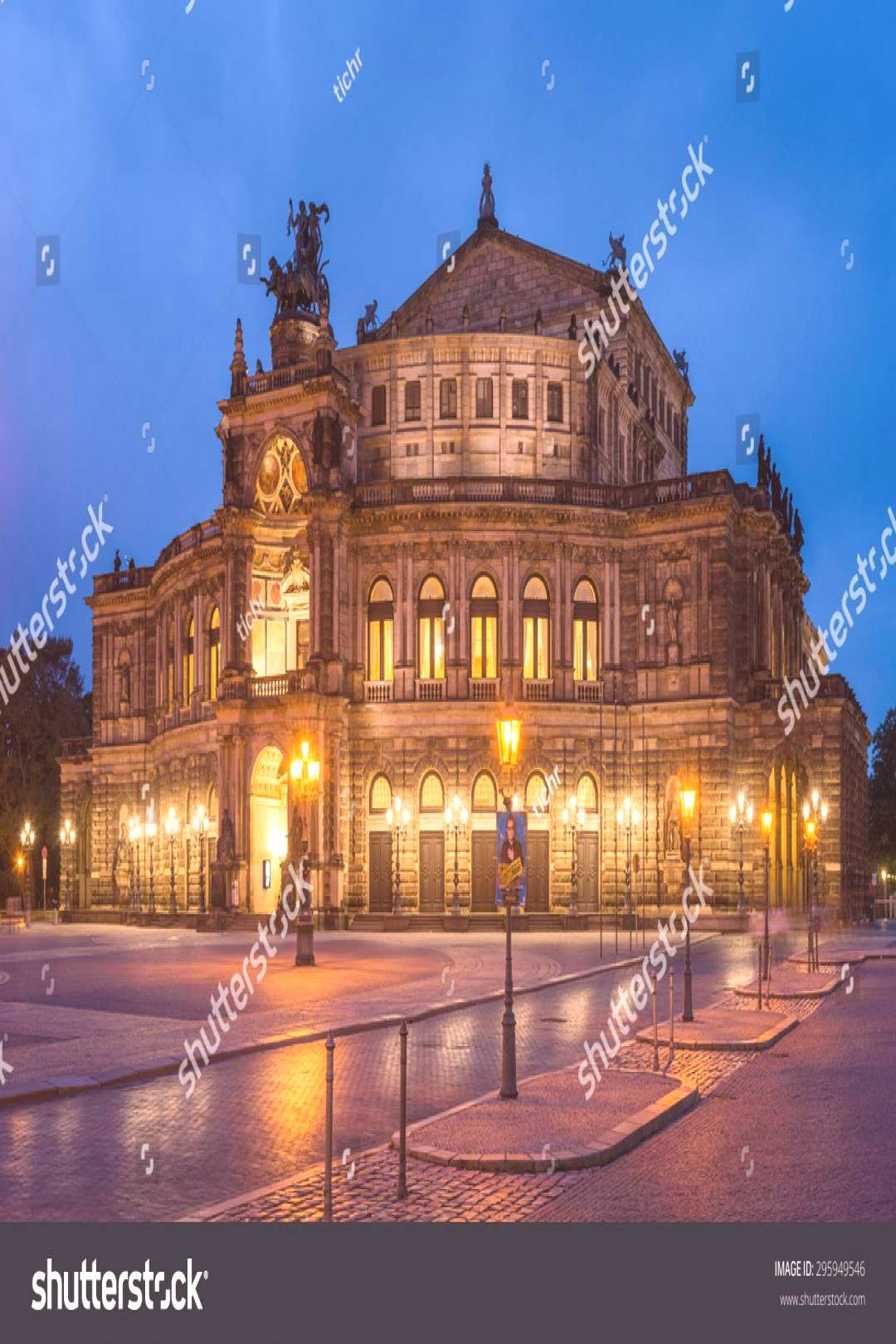 Dresden, Germany. July 14. 2013. View of the Semper Opera in Dresden at Blue Hour, shot as High Dyn