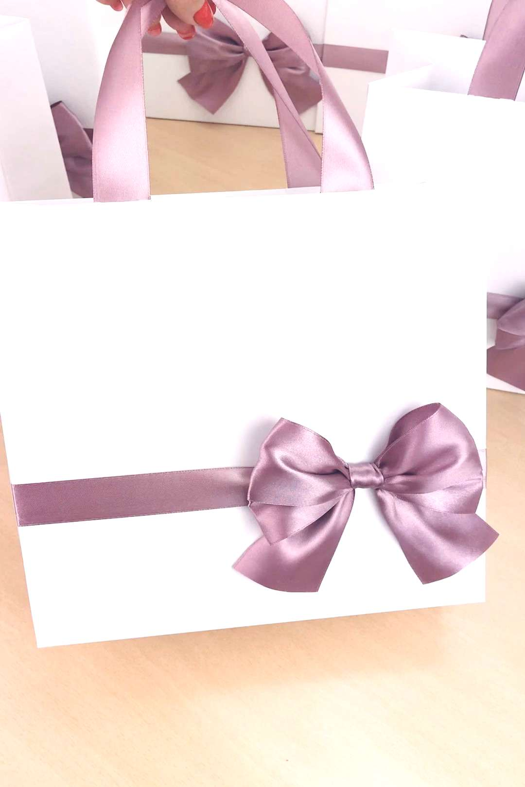 Elegant gift bags with Dusty Rose bow