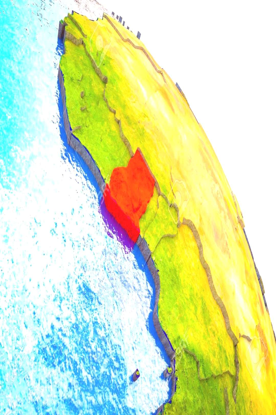 Ghana Highlighted on 3D Earth model with water and visible country borders. 3D illustration. Stock