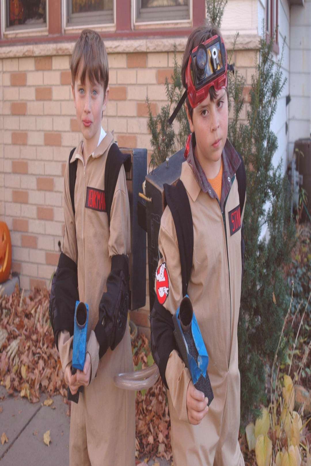 Ghostbusters costumes and boys made their own proton packs#boys