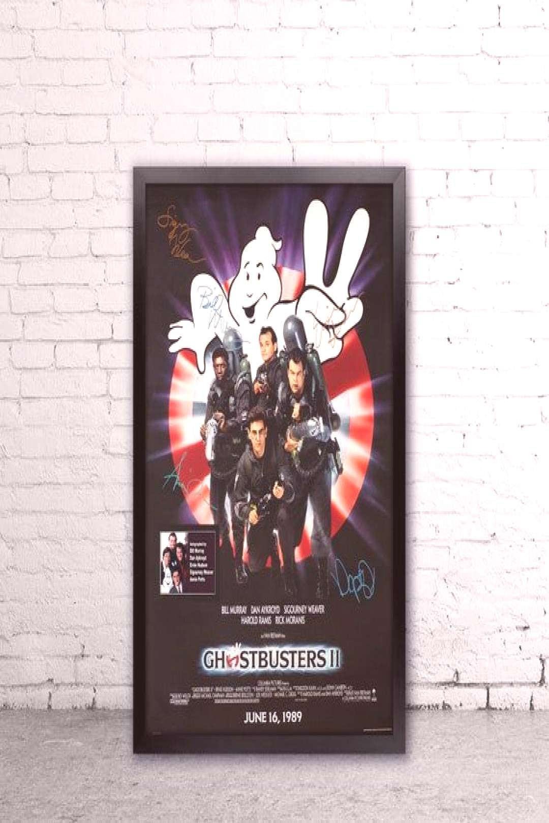 Ghostbusters II , Signed Movie poster, Framed and ready to hang, With matted Name plate , Ghostbust
