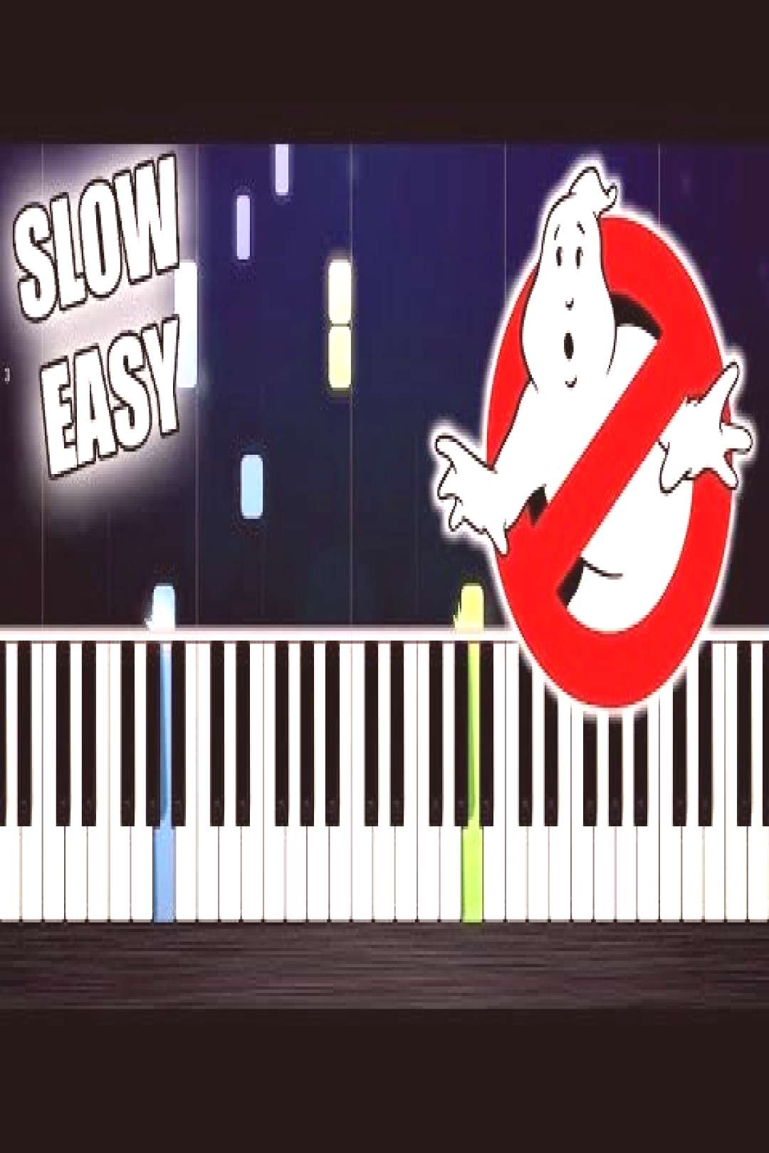 GhostBusters Theme Song - SLOW EASY Piano Tutorial by PlutaX