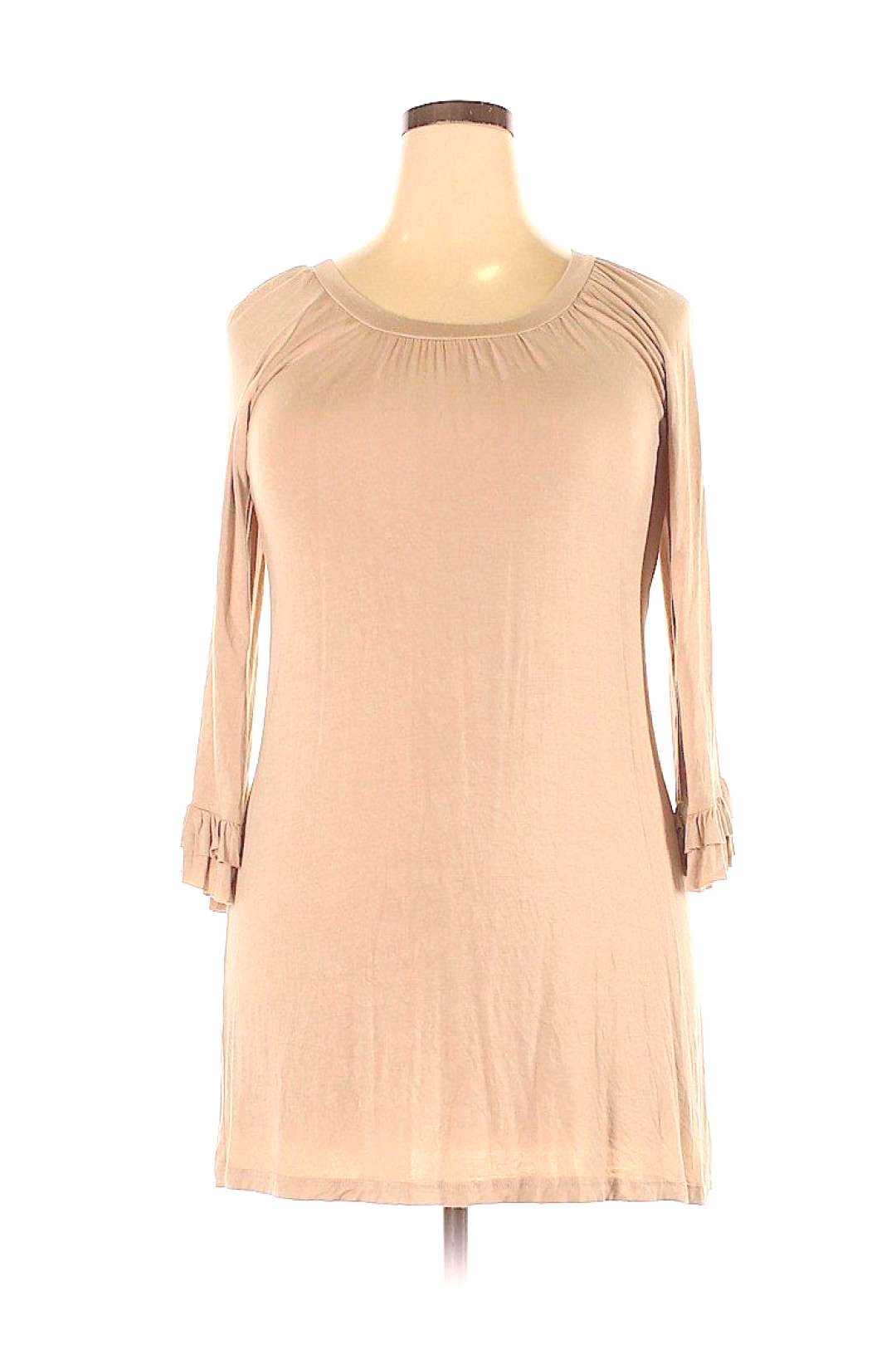 GIDDY UP GLAMOUR Casual Dress - Shift Tan Solid Dresses - Used - Size 2X