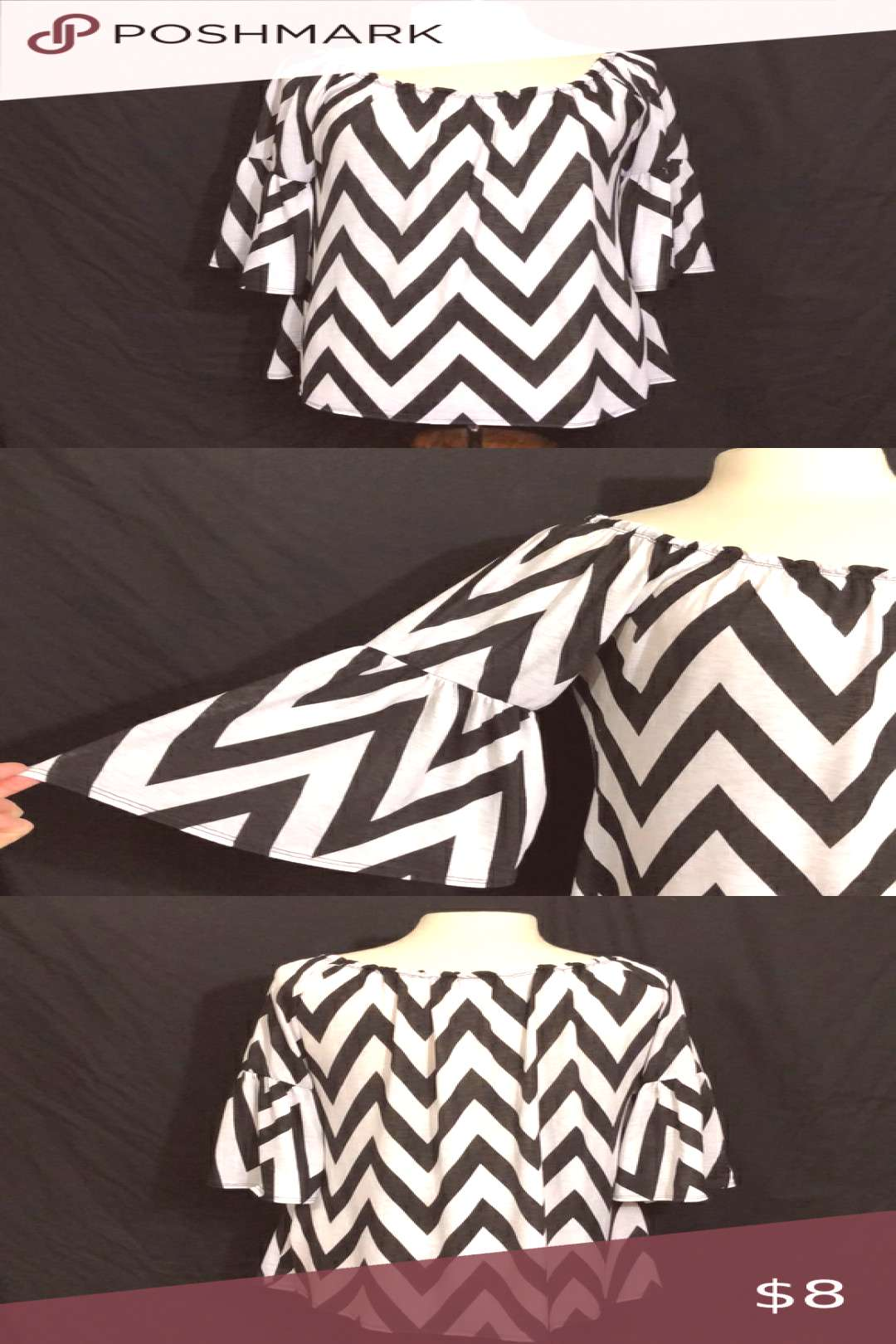 """Giddy Up Glamour Chevron Flounce Sleeve Blouse Bust 43"""" Length 28"""" Arm Length from Pit 11.5"""""""