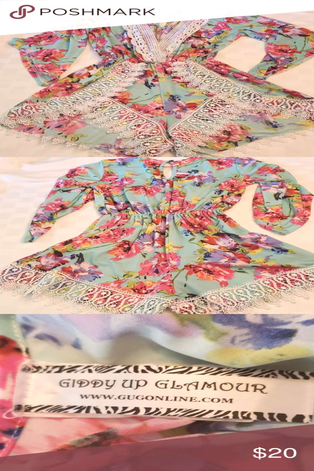 Giddy Up Glamour Gugonline Romper Sm Floral amp Lace Giddy Up Glamour Gugonline Romper Floral amp Lace