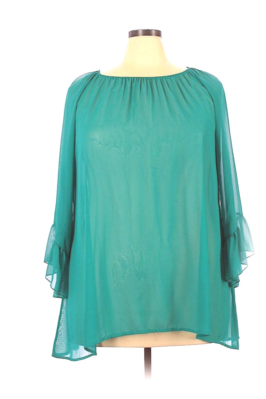 GIDDY UP GLAMOUR Long Sleeve Blouse Blue Solid Tops - Size 2X