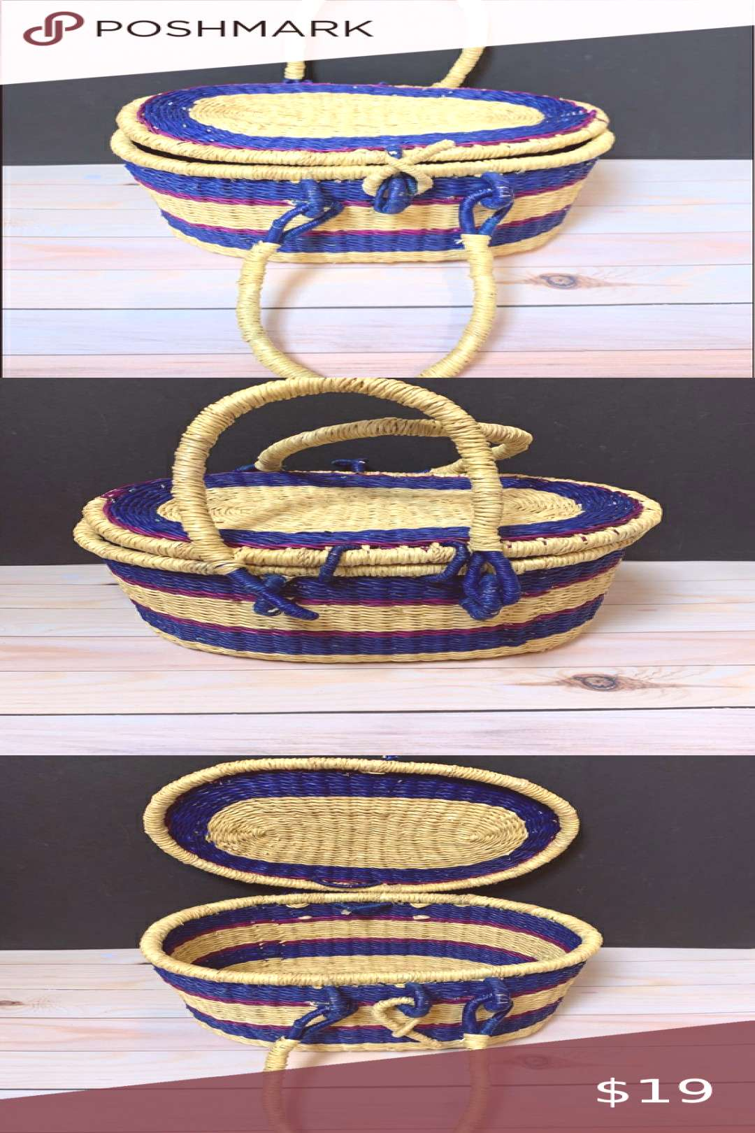 GlobeIn Small Picnic Basket, Ghana This handcrafted picnic basket is made entire...#basket