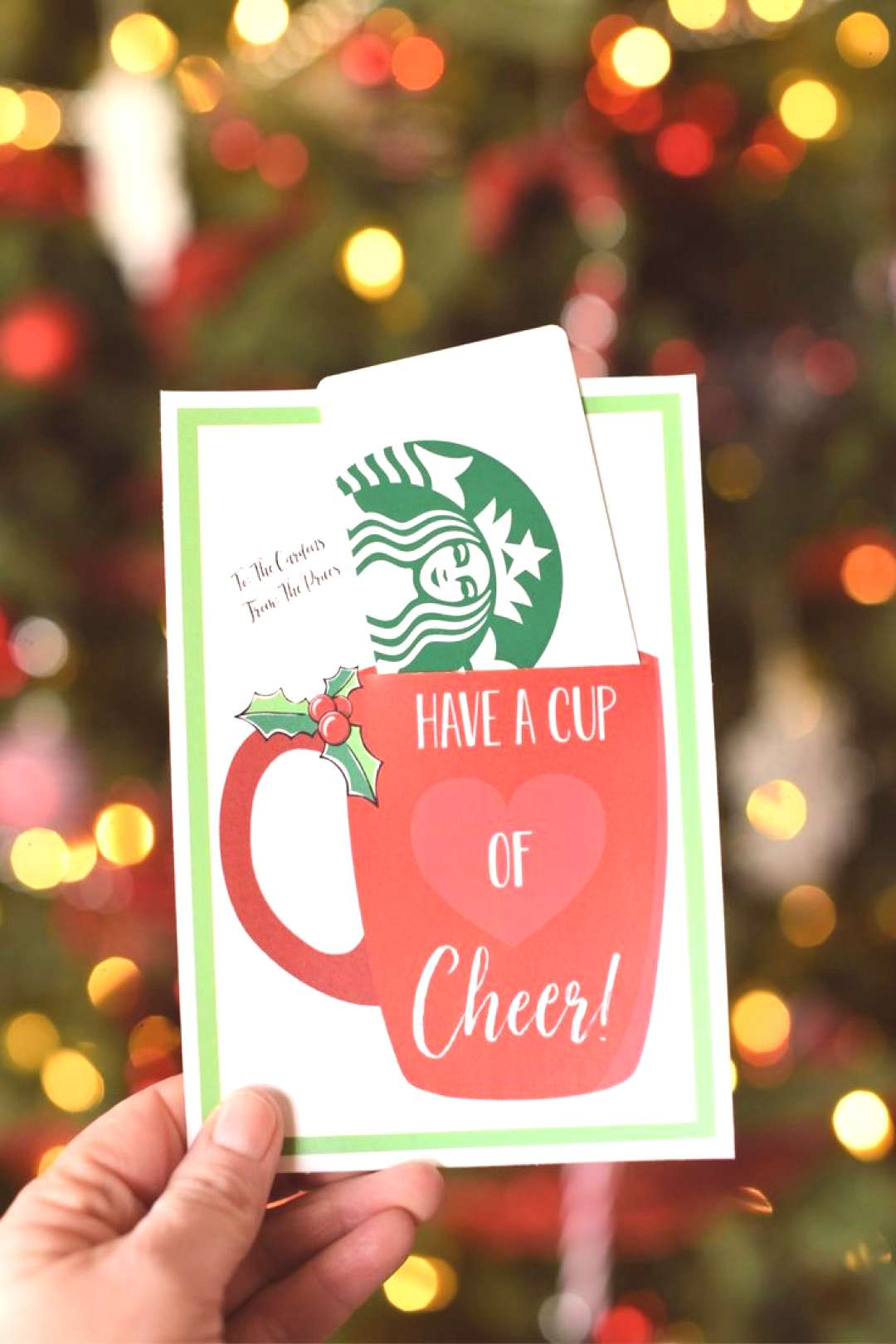 Have a Cup of Cheer Gift Card Holder-Just add a cute gift card like Starbucks to this printable gif