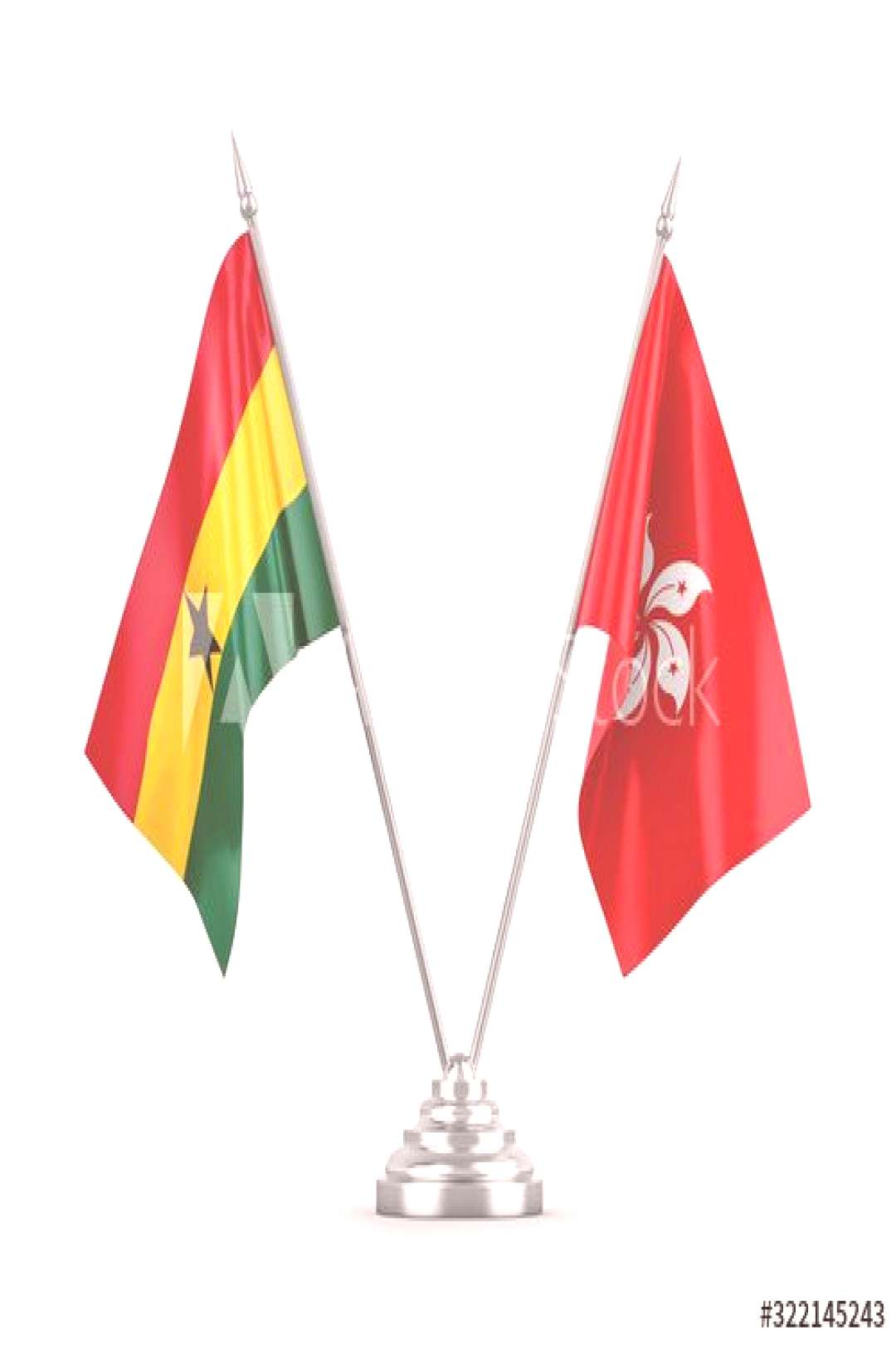 Hong Kong and Ghana table flags isolated on white 3D rendering ,