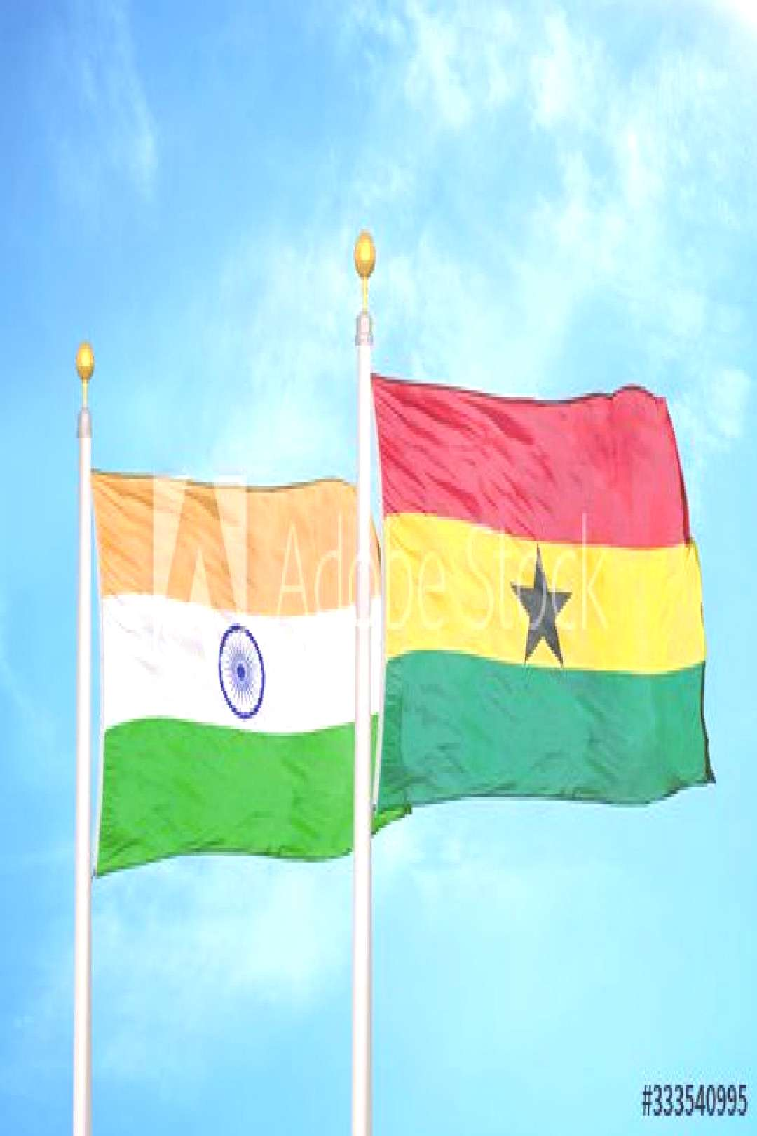 India and Ghana two flags on flagpoles and blue cloudy sky ,