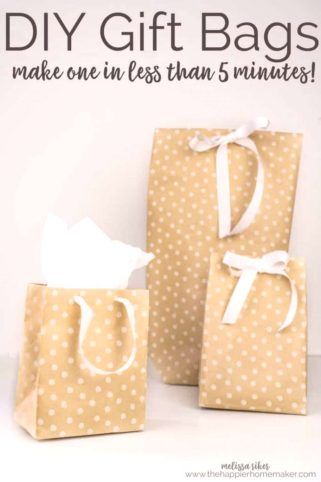 Its easy to learn how to make your own DIY Gift Bags in under 5 minutes using wrapping paper, tape