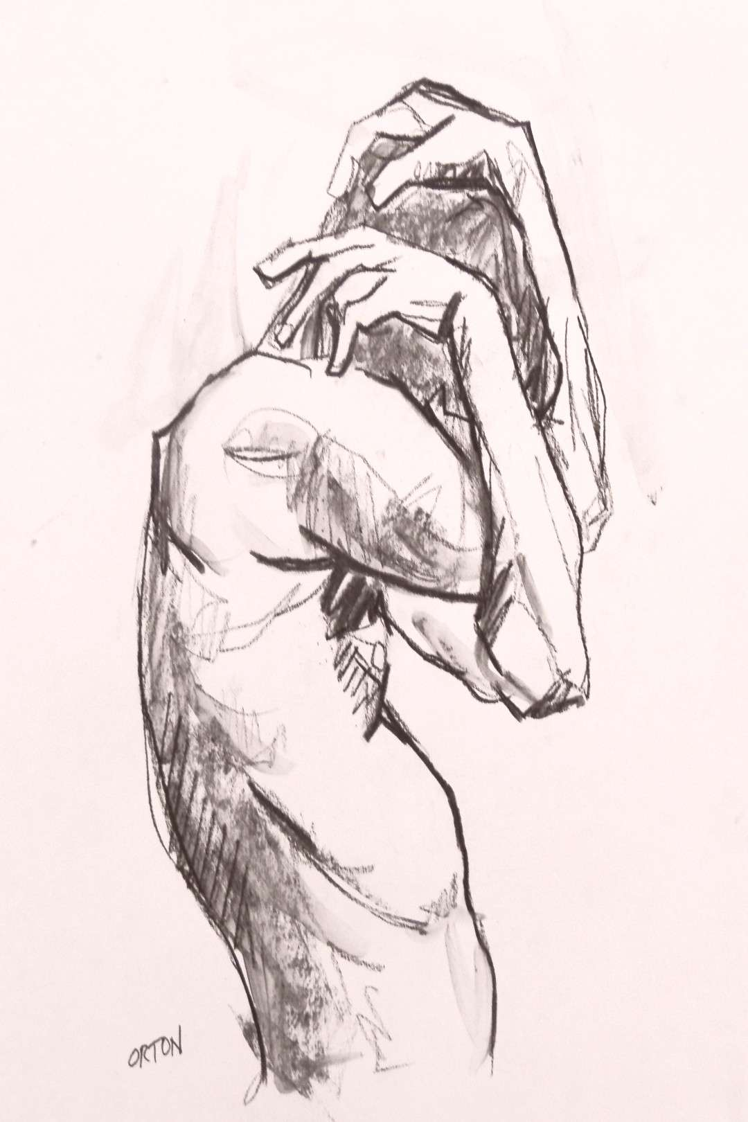 Male Nude Art Original Painting Drawing Charcoal Gesture Drawing Nude Naked Figure Study Sketch Fig