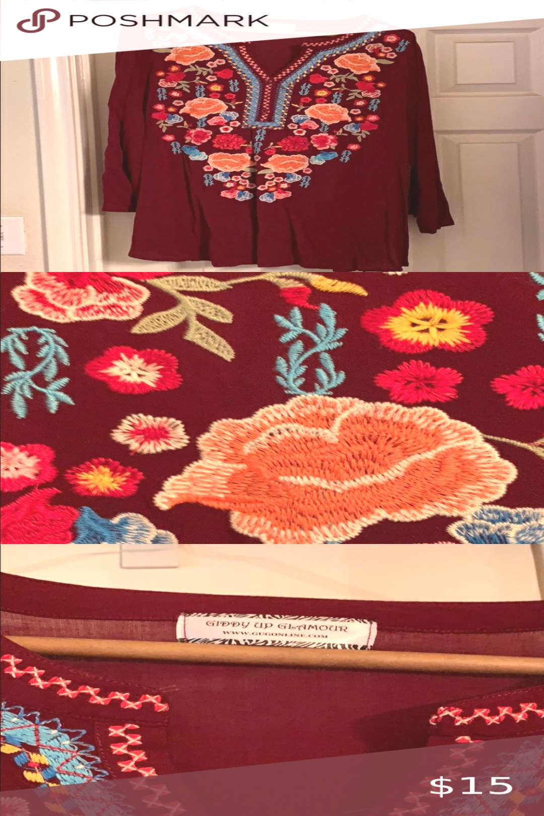 Maroon tunic with embroidered flowers size large Giddy Up Glamour size large maroon tunic with embr