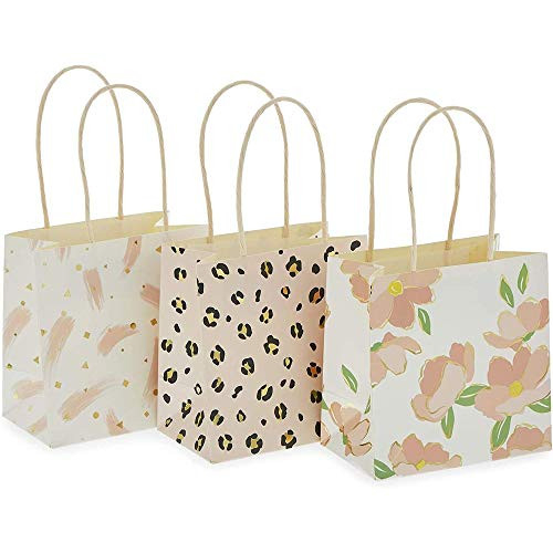Mini Gift Bags with Handles in 3 Pink Designs (5 x 5 x 3 in,