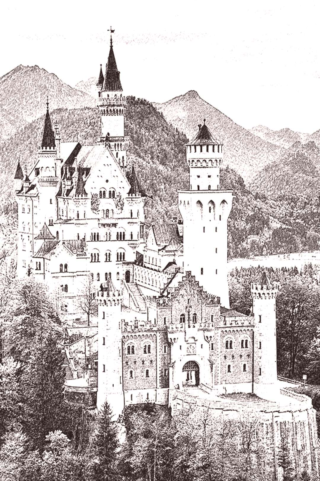 NEUSCHWANSTEIN CASTLE BAVARIA GERMANY BLACK LINE ART ADULT COLORING PAGE FREE DOWNLOAD