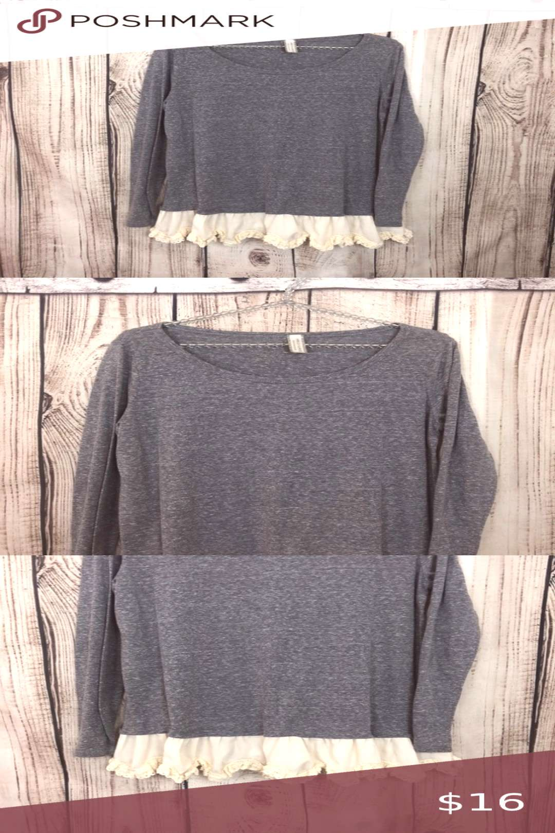 NWT Giddy Up Glamour Ruffle Trim Tunic Top Medium Giddy Up Glamour top Medium Gray with white ruffl