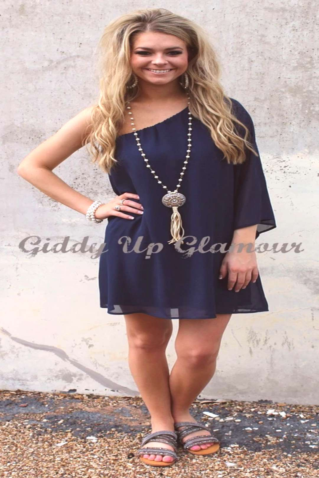 One Shoulder Wonder Dress in Navy Blue – Giddy Up Glamour Boutique