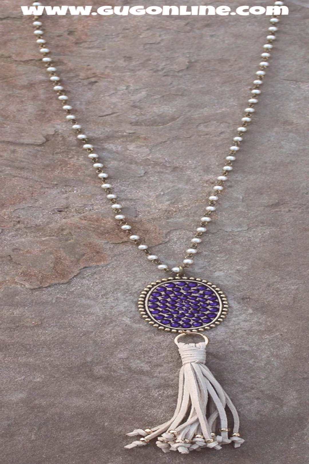 Pink Panache Long Pearl Necklace with Oval Covered in Purple Crystals – Giddy Up Glamour Boutique